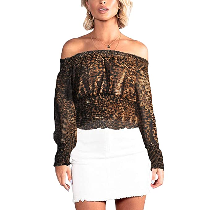 03220dfb13417 YIyicool Womens Ruffle Off Shoulder Lace Up Blouse Shirts Sexy Long Sleeve  Streetwear Blouse Autumn Casual Female Crop Top at Amazon Women s Clothing  store