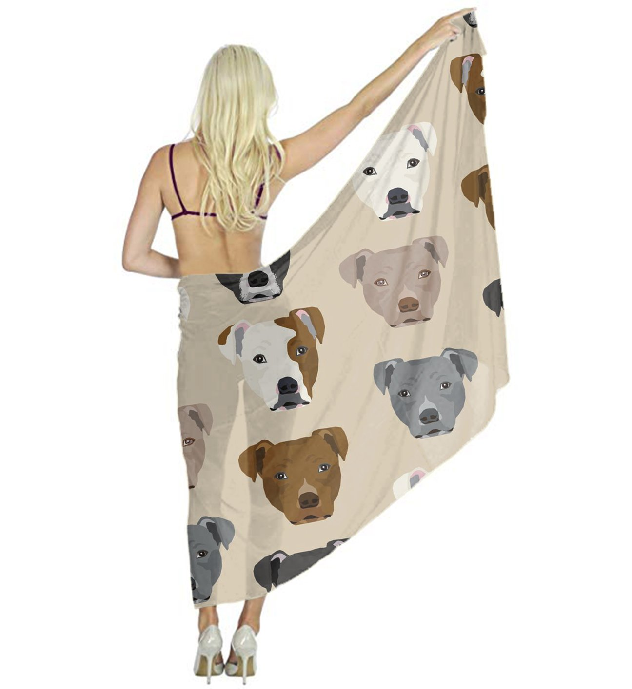 Women Scarf Large Pitbull Heads Shawl Wraps for Evening Dress, Wedding Party