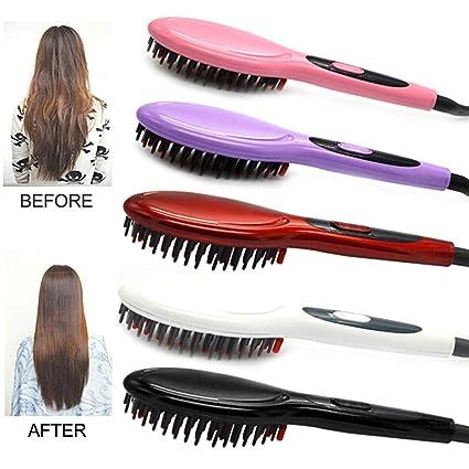 Cepillo eléctrico de cerámica Herramienta de peinado del cabello Cepillo alisador del pelo Plancha para el cabello Niñas Señoras Peine del cabello Cuidado ...