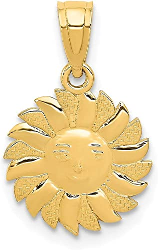 14k Yellow Gold Sun Face Pendant Charm Necklace Celestial Fine Jewelry Gifts For Women For Her