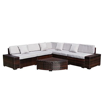 Enjoyable U Max Outdoor Patio Garden Furniture Pe Rattan Wicker Sofa Sectional With Tea Table Conversation Sets 6Pcs Brown Inzonedesignstudio Interior Chair Design Inzonedesignstudiocom