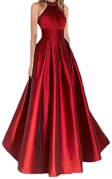 VinBridal Sexy Red Halter Ruched Floor Length Backless Ball Gown ...