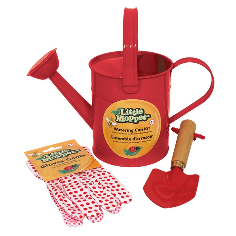 Family Games Little Moppet Kids Gardening Watering Can Kit, Red