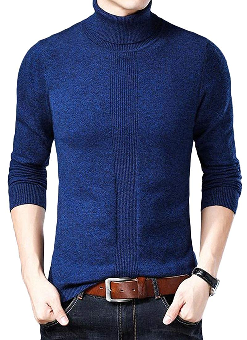 Agana Mens Jumper Color Block Knitwear Turtleneck Pullover Fall Winter Sweater