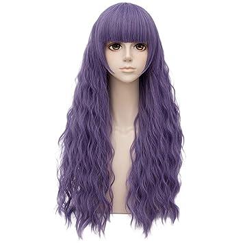 Humo Púrpura Igual Flequillo Largo 28 Pulgadas Rizado Peluca Cosplay A Prueba De Calor Moda Lolita