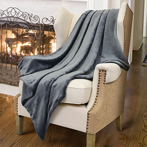 Sherpa Throws Grey Blanket,Luxury Reversible Match Color Super Soft Fuzzy Micro Plush Fleece Mens Blanket All Season for Couch Bed By Catalonia