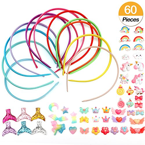Decorated Jewelry - Tacobear 60 Pieces Girls DIY Satin Fashion Headbands Set Kids Art and Crafts Kits Girls Jewelry Making Kit-Decorated with Hair Accessories (60Pcs)