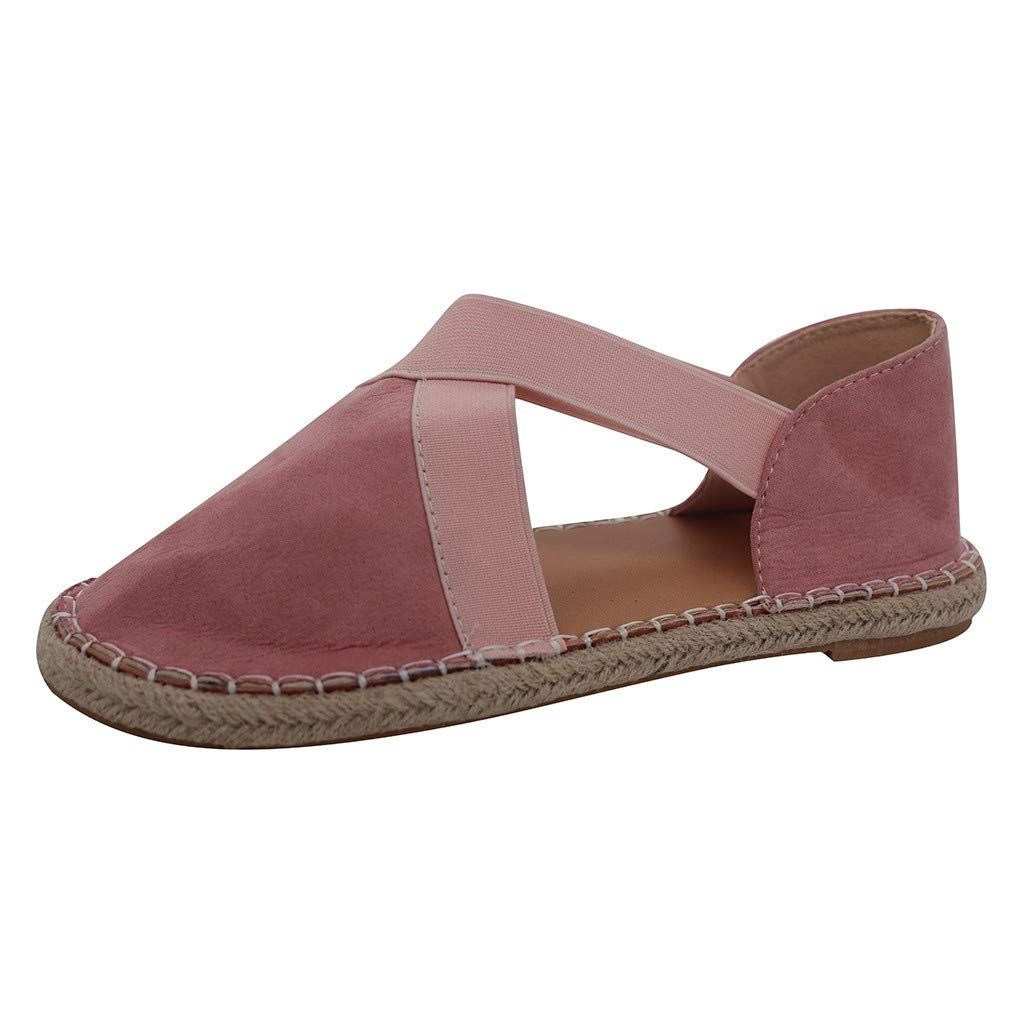 Tantisy ♣↭♣ Fashion Loafers Cross-Tied Flat Heel Sandals Retro Casual Lazy Shoes Slip-on Sneaker Summer for Womens Pink