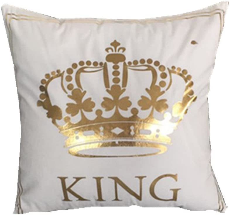 FASHIONDAVID Gold King Crown Bronzing Flannelette Square Decorative White Throw Pillow Case Home Pillowcases Cushion Cover Gold King Queen Crown 18 X 18 Inches