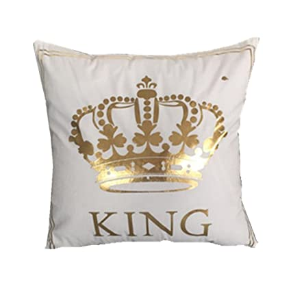 Amazon FASHIONDAVID Gold King Crown Bronzing Flannelette Square Beauteous Decorative King Pillow Cases