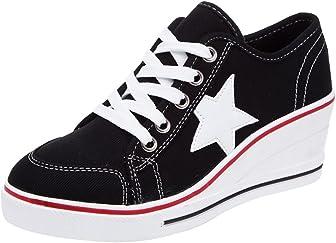 Padgene Zapatos de tacón alto de lona para mujer con cordones de moda zapatillas de plataforma cuñas zapatos de tacón alto