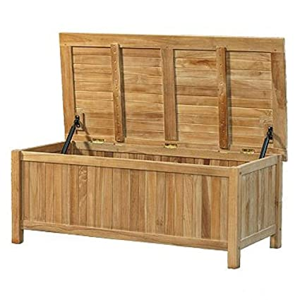 Superb Amazon Com Sts Teak Wood Outdoor Deck Box Outdoor Patio Ocoug Best Dining Table And Chair Ideas Images Ocougorg