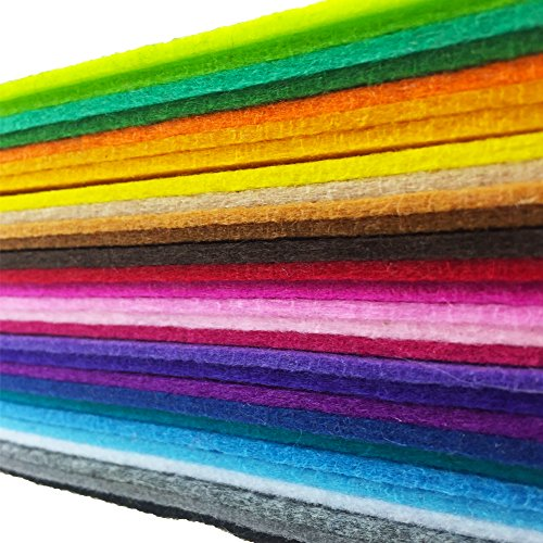flic-flac 28pcs Thick 2mm 12 x 8 inches (30cm x 20cm) Solid Felt Fabric Sheet Assorted Color Felt Pack DIY Craft Squares Nonwoven ()