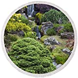 Pixels Round Beach Towel With Tassels featuring ''Cascade Waterfall - Japanese Tea Garden'' by Adam Romanowicz