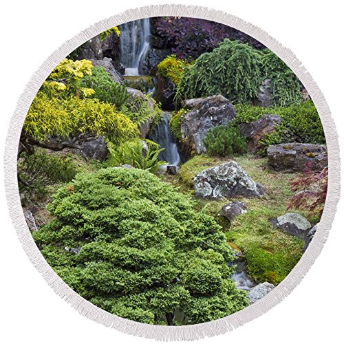 Pixels Round Beach Towel With Tassels featuring ''Cascade Waterfall - Japanese Tea Garden'' by Adam Romanowicz by Pixels