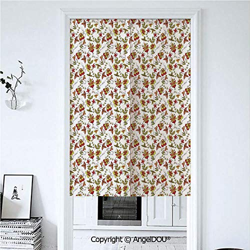 AngelDOU House Decor Home Doorway Curtains Decorative Screen Vintage Fabric Design Style Traditional Exotic Plants Flowers Pattern Fall Colors for Hallway Kitchen Hotel Restaurant. 33.5x47.2 inches