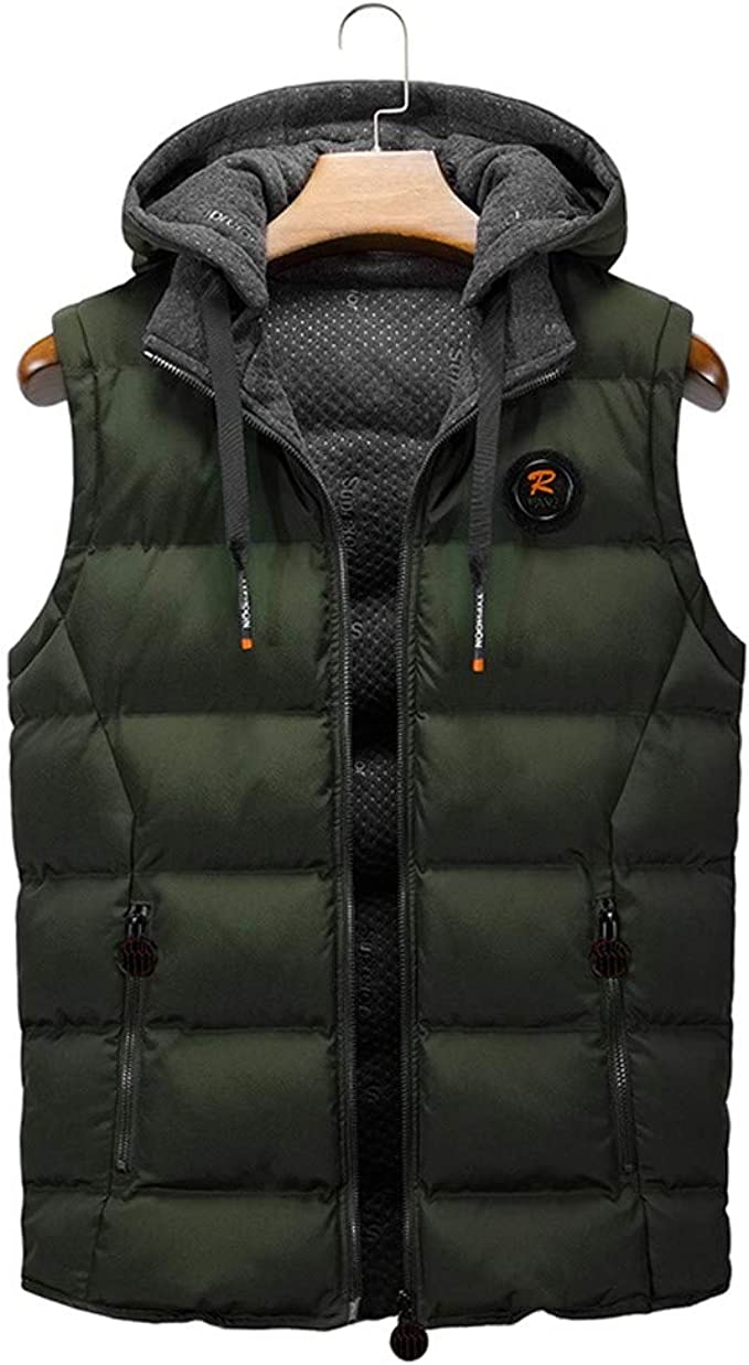 Mens Autumn Winter Coat Padded Cotton Vest Warm Hooded Thick Vest Jacket Tank Top Plus Size
