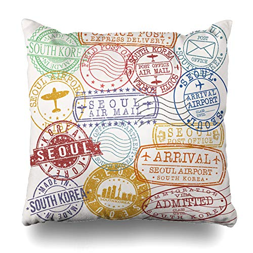 Ahawoso Throw Pillow Cover Flying Airport Seoul South Korea Stamp Postal Antique Approved Arrival Asia Circle Design Departure Home Decor Pillow Case Square Size 20 x 20 Inches Zippered Pillowcase