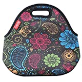 Neoprene Lunch Tote Bags, YOUKEE Thick Insulated Lunch Bag Waterproof Outdoor Travel Picnic Lunch Handbags with Zipper, Colorful Paisley