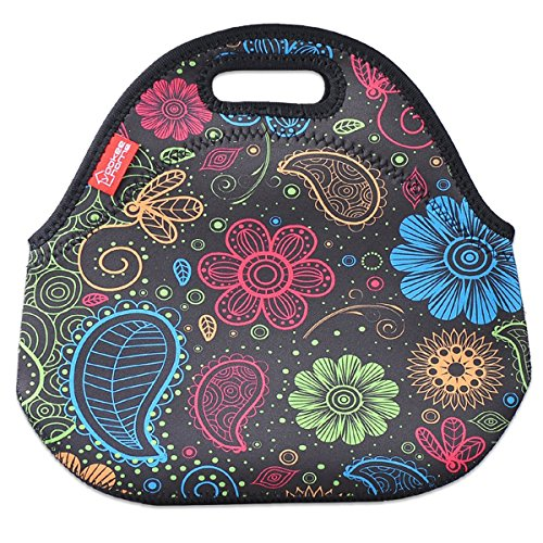 Bags, YOUKEE Thick Insulated Lunch Bag Waterproof Outdoor Travel Picnic Lunch Handbags with Zipper, Colorful Paisley ()
