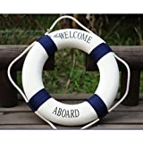 Estone Decorative Welcome Aboard Nautical Lifebuoy Ring Wall Hanging Home Decoration (Blue, 20cm/7.8'')