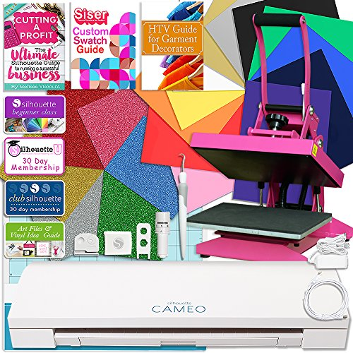 """Price comparison product image Silhouette Cameo 3 Bluetooth Heat Press T-Shirt Bundle with 9""""x12"""" Pink Heat Press,  Siser Vinyl,  Swatch Book,  Guides,  Class"""