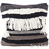 Eyes of India - 20'' White Black Colorful Embroidered Pillow Woven Tufted Cushion Cover Fringe Tassel Couch Sofa Decorative Throw Boho Bohemian IndianCover Only