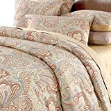 Silkly Soft Paisley Bedding Design 800 Thread Count 100% Cotton 3Pcs Duvet Cover Set,Twin Size,Khaki