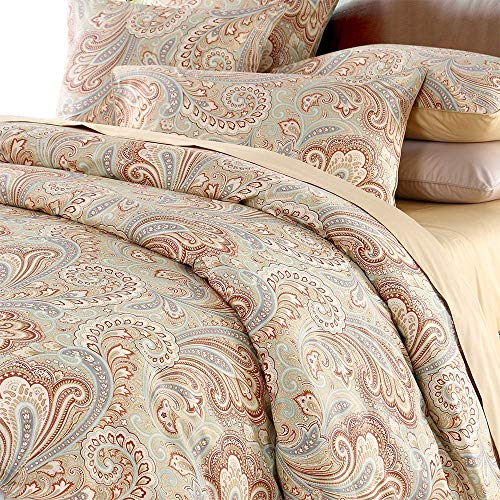 Luxury Paisley Bedding Design 800 Thread Count 100% Cotton 3Pcs Duvet Cover Set,King Size,Khaki