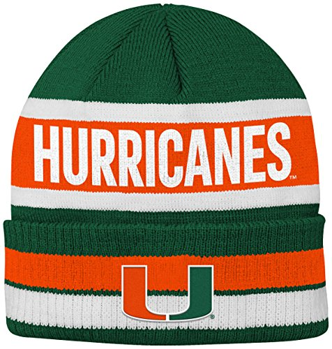 Team Knit Beanie (NCAA Miami Hurricanes Youth Boys Wordmark Stripe Knit Hat, 1-Size, Dark Green)