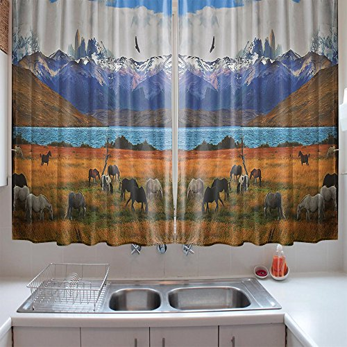 oFloral Kitchen Curtains Scenery Animal Farm with Horses Multicolor Window Treatments for Kitchen Dining Room Curtains 2 Panels Set 55 W X 39 L Inches by oFloral