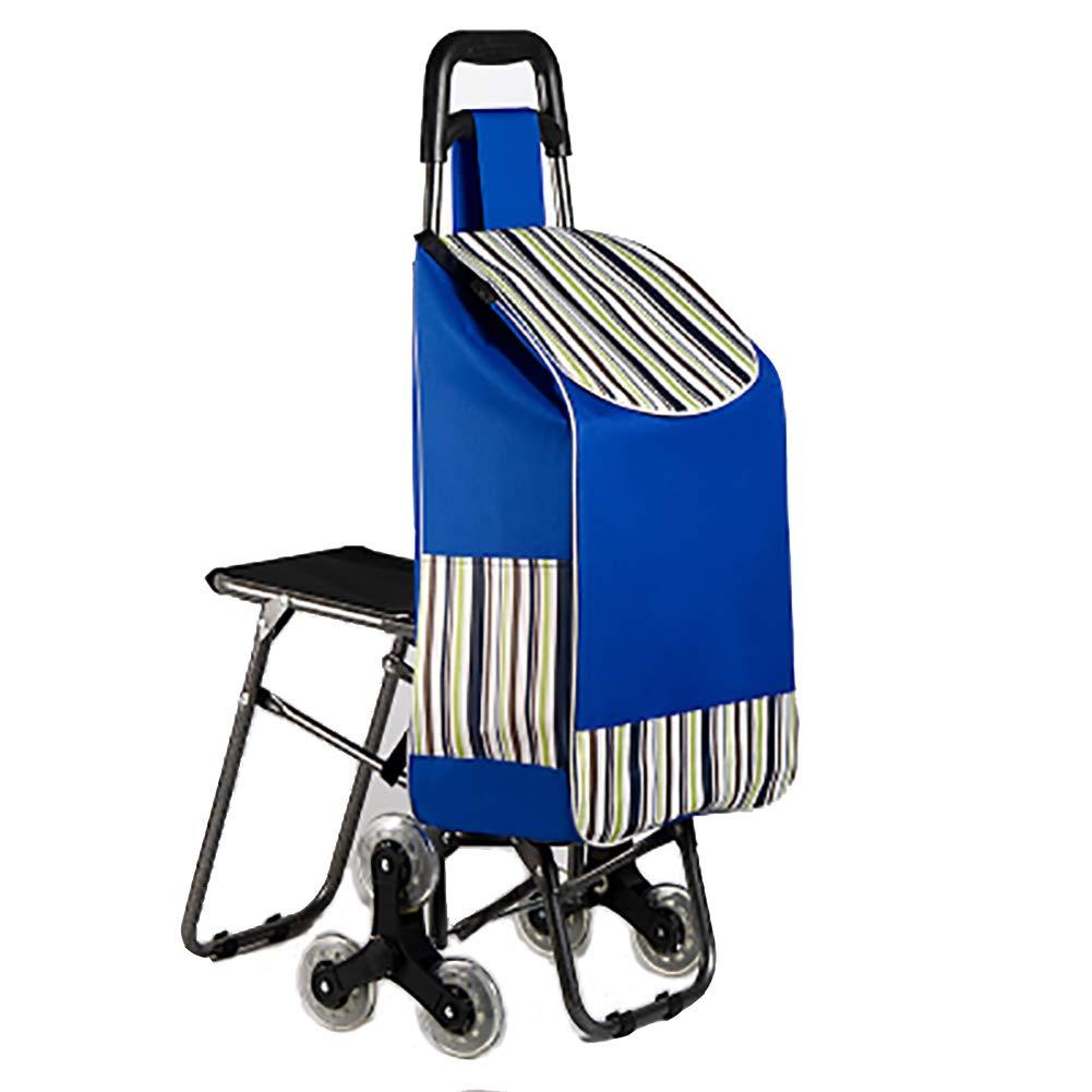 【美品】 軽量ショッピングトロリー stripes、ショッピングカート、オックスフォードクリスタルホイール付き階段クライミングカート、独自のシートデザイン、金属部品は安定した高荷重ベアリングが接続されています blue B07H8B2TVG。 B07H8B2TVG blue stripes, New Village:d2772bb6 --- arianechie.dominiotemporario.com