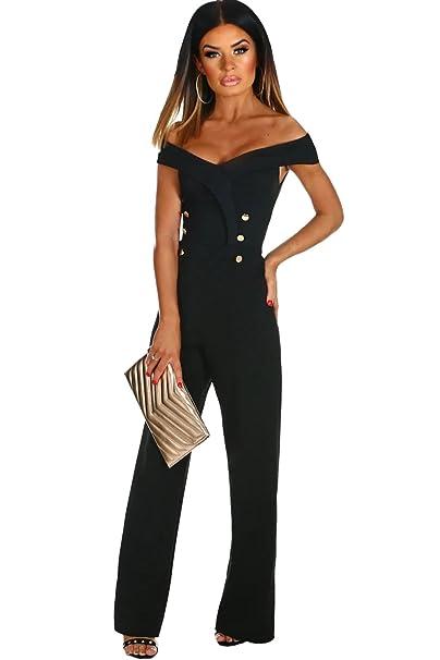 5b5de6615ee8 emmarcon tuta elegante pantaloni lunghi scollo barchetta vestito abito  cerimonia da donna-Black-XL