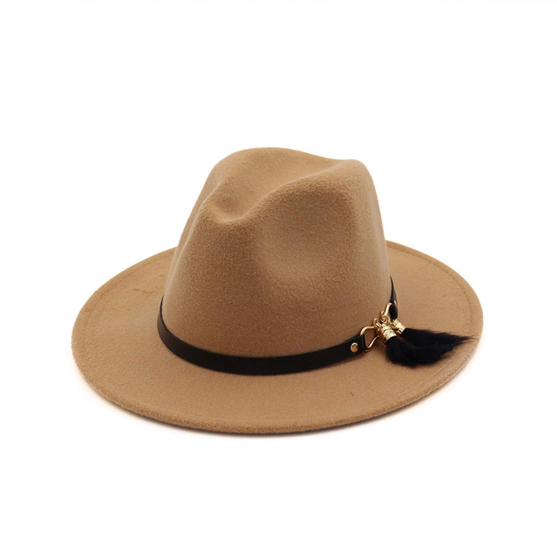 DOSOMI Women Winter Wool Trilby Fedoras Panama Felt Hat Lady Flat Brim Jazz Cap with Belt Feather