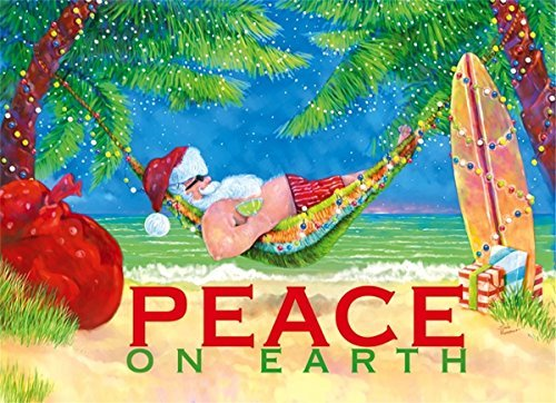 18 Christmas Cards and Envelopes, Santa in a Hammock, Peace on Earth