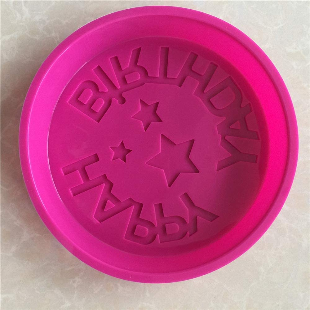 Happy Birthday Silicone Baking Mold Random Color 9.6-Inch Birthday Cake Pan Round Circle Mold Cheese Cake Jelly Pudding Muffin Pizza Pie Flan Tart Bread Bakeware Pastry Baking Mold