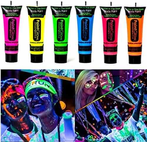 Kim-Onni Glow in Dark Body Paint Face UV Backlight Neon Fluorescent 0.35oz Set of 6 Tubes