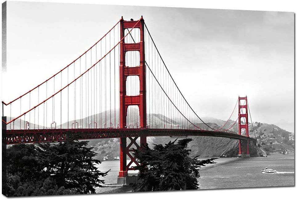 "LevvArts - Modern Home Decoration Wall Art,San Francisco Golden Gate Bridge Picture Painting on Canvas Print Stretched Wood Frame,Red Bridge Ready to Hang -24""x 36"""