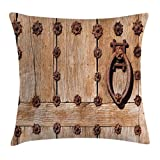 Cheap Ambesonne Rustic Throw Pillow Cushion Cover, Spanish Entrance of Rusty Medieval Style Handlers Archway Facade Historical Image, Decorative Square Accent Pillow Case, 40 X 40 Inches, Pale Brown