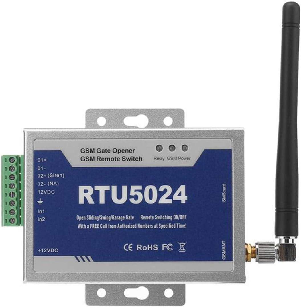 GSM Abridor de Puerta a Distancia Soporta Llamadas Gratis SMS Comandos, Interruptor Remoto SM, abrepuertas con Control gsm Dial (RTU5024)