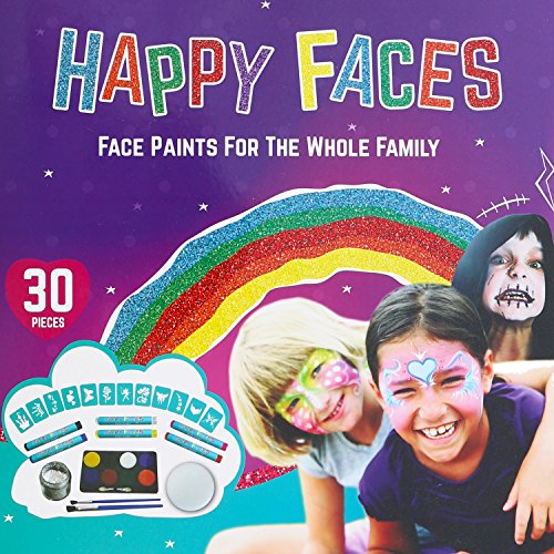 FACE PAINT SET: 30 Piece Kit Including Face Paints, Face Painting Pens, Brushes, Sponge, Stencils & Guide Book. Ideal As Birthday, Halloween, MakeUp, Dressing Up Gift (Girl Halloween Face Painting Ideas)