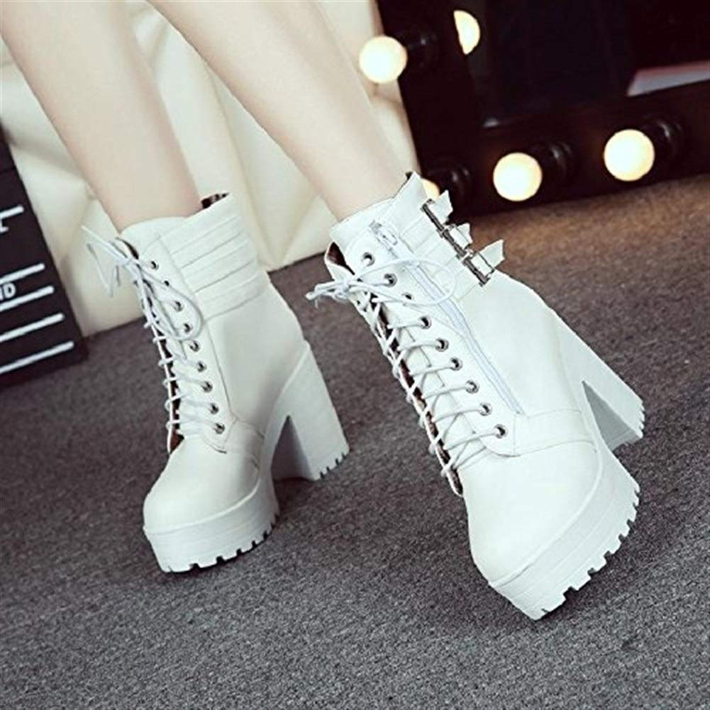 RUIFENGSTORE Womens Boots Round Toe Mid Thick Heel Thick Bottom Leather Buckle Short Boots Comfortable Boots for Ladies