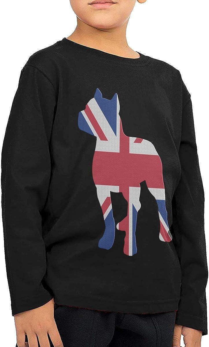CERTONGCXTS Little Boys Patriotic Pitbull British Flag ComfortSoft Long Sleeve Shirt