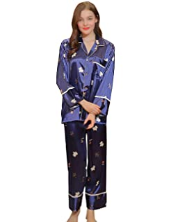 Femme Robe De Chambre Printemps Automne Satin Vêtement De Nuit Tops Occasion  Elégante 2 Parties Pantalons b2de0a57f46