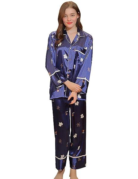 Mujer Batas Primavera Otoño Satín Tops Camisones Pantalon 2 Pedazos Elegantes Vintage Fashion Informales Impresión Albornoz Manga Larga V-Cuello Button ...