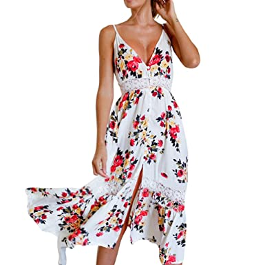 454e7b04c8 Women s Dresses Summer Floral Bohemian Spaghetti Strap Button Down Swing  Midi Dress with Pockets