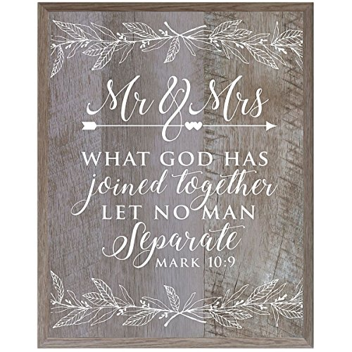 Mr. and Mrs.Wedding annivesary Gift for Bride and groom husband wife Parents,and Christian gift ideas 12 Inches Wide X 15 Inches High Wall Plaque By Dayspring Milestones (Barn wood)