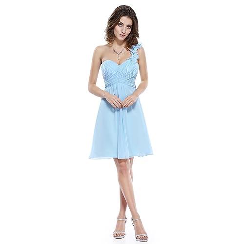 Ever Pretty Womens One Shoulder Flowers Ruffles Short Bridesmaid Dress 03535
