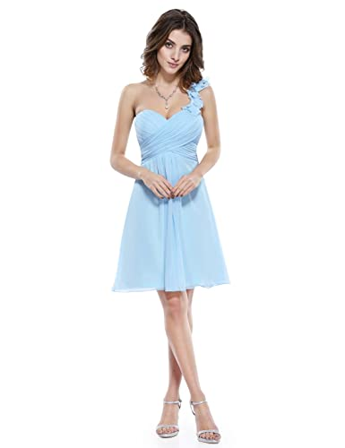 Ever Pretty One Shoulder Flowers Padded Ruffles Short Bridesmaid Dress 03535