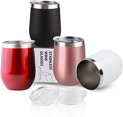 Sivaphe Wine Glasses Tumbler Keep Cold Camping Cup Gifts Family Friends Insulated Reusable Coffee Cups Stainless Steel Double Walled with Lid 12OZ Set